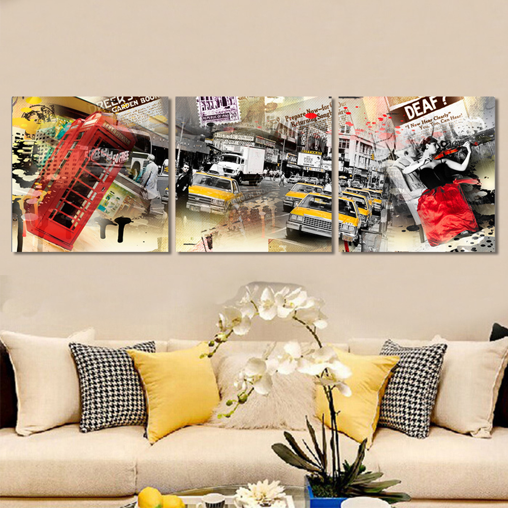 Unframed Multiple Pieces HD Canvas Painting Abstract Modern City Car Prints Wall Pictures For Living Room Wall Art Decoration