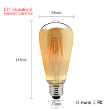 Foxanon 4W 6W 8W Dimmable COB LED Vintage Filament Retro Edison Bulbs 220V 110V ST64 2200K 27000K Filament Lamp Vintage Lighting