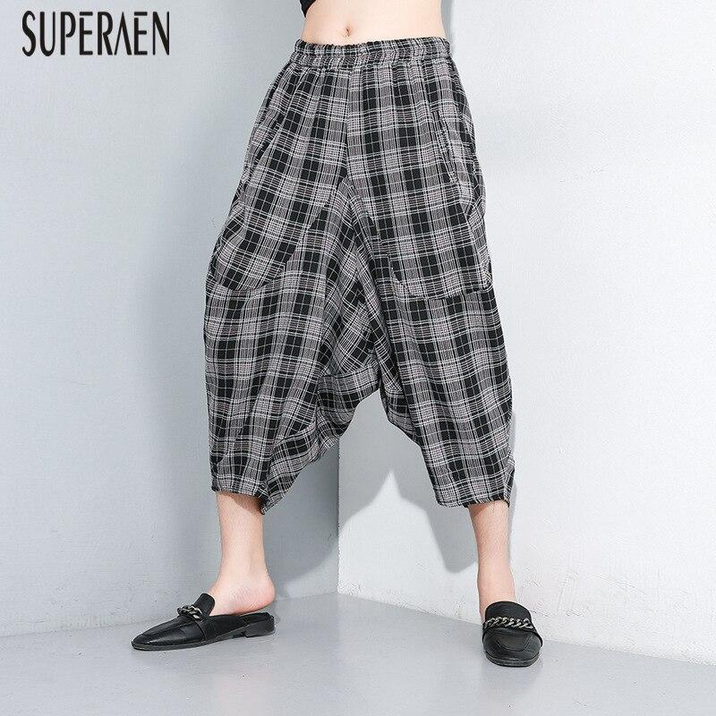 SuperAen Europe Casual Women   Pants   2019 Summer New Plaid Pluz Size Elastic Waist   Wide     Leg     Pants   Female Fashion Cotton   Pants