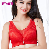 Women Large Size Lace Bra Gathered Luxury Collection Deep V Push Up Bra C D E
