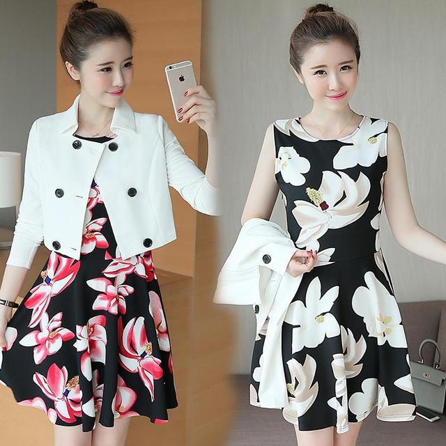Vestido outono Mulheres New Arrivals Moda Estampa Floral Vestido Ternos Para Senhoras 2016 Coreano Duas Peças Set Vestidos de Mulher Vermelha