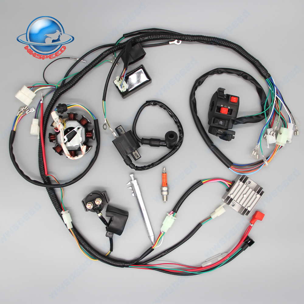 200cc 250cc Quad Full Electrics Wiring Harness Cdi Coil D8ea Annpee Complete Kit Wire Loom Stator For Atv 4 Four