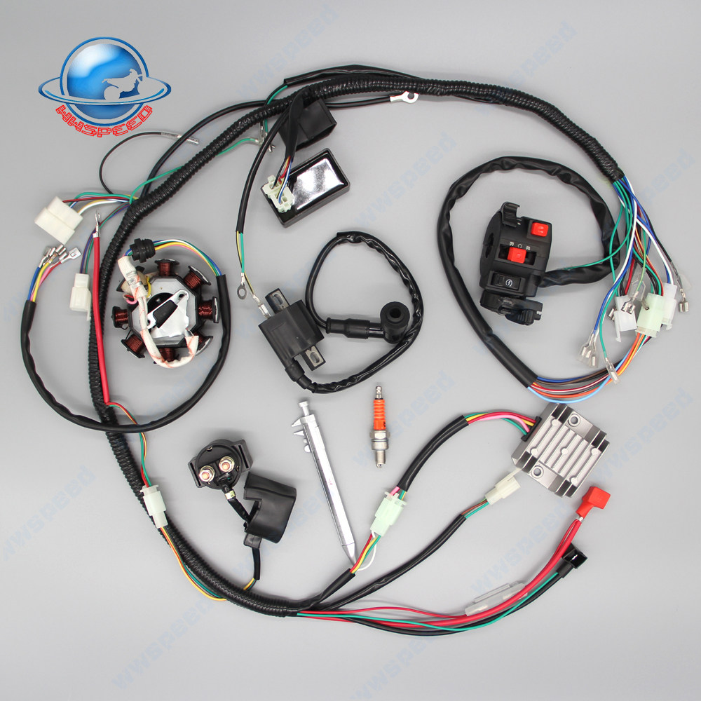 Annpee Complete Wiring Harness kit Wire loom Electrics Stator Coil CDI For  ATV QUAD 4 Four