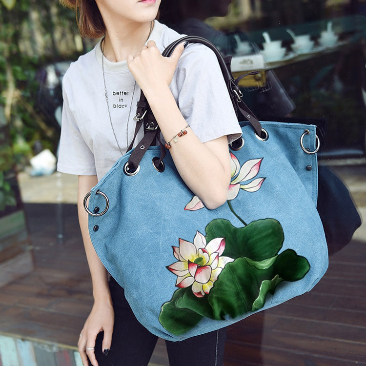 New retro bag national style handbags bag shoulder Messenger bag women canvas bag large capacity Chinese style