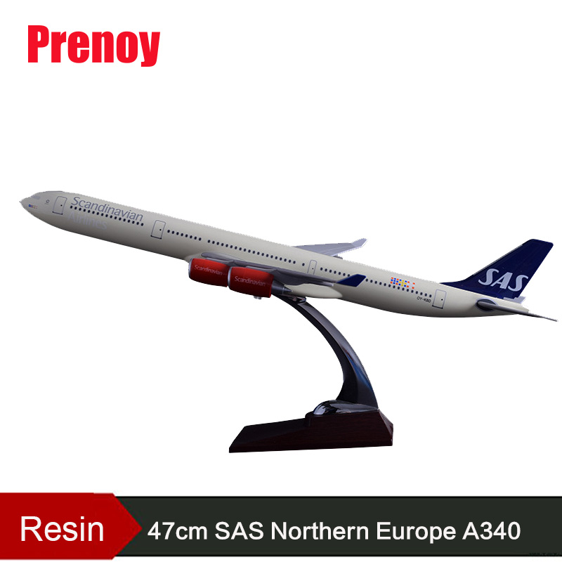 47cm Resin A340 SAS Northern Europe Airlines Plane Model Airbus Scandinavian Airplane Model International Airways Aircraft Model offer wings xx2456 special jc portugal airlines cs tjg 1 200 a321 commercial jetliners plane model hobby