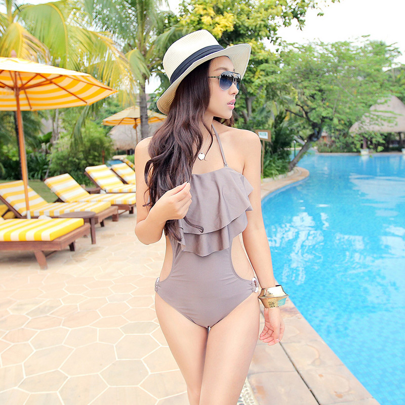 1a5d439159d Spa Nylon 1 one piece sexy swimwear women's small bust M L XL RUFFLES  triangle swimsuit backless bathing swimming suits forwoman