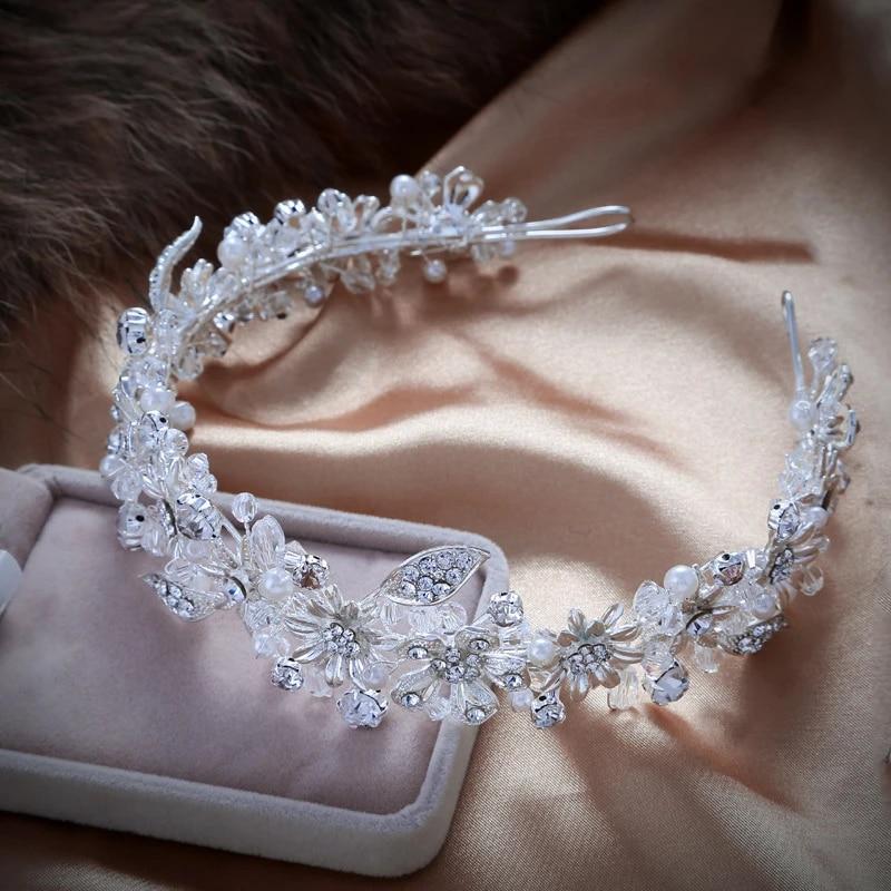 Handmade Sparkling Crystal Wedding Bride Flower Tiara Coroa Headband Bridal Women Prom Crowns Kopoha Bijoux Cheveux Accessories Prom Crown Headband Bridalbijoux Cheveux Aliexpress