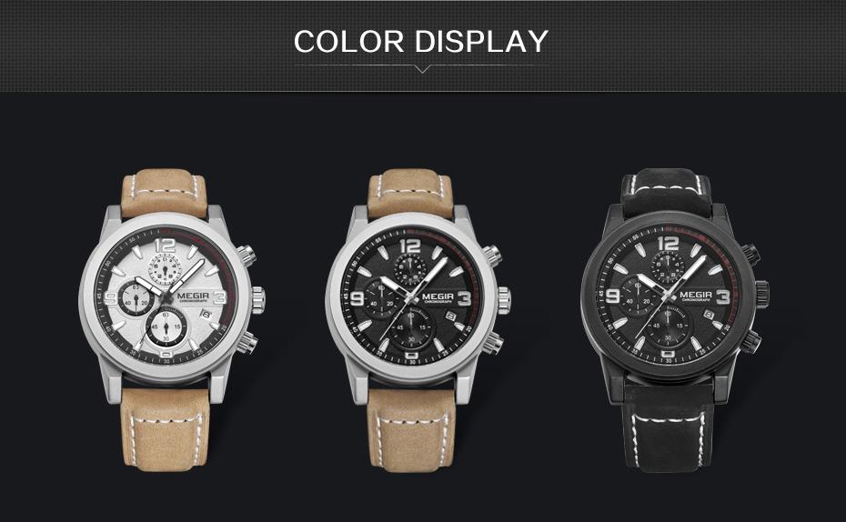 Topdudes.com - MEGIR Luxury Sports Fashion Quartz Chronograph Leather Wrist Watch