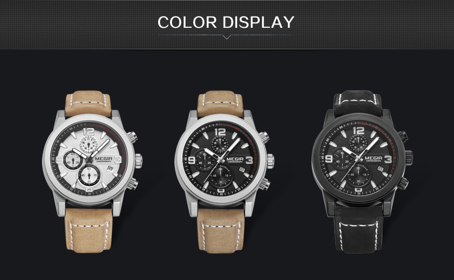 Topdudes.com - MEGIR Luxury Sports Fashion Quartz Chronograph Leather Wrist Watch