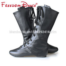 FreedomDance New Arrival High Boots For Jazz Dancers Lacing Black Red White Colors Dancing Boot Stage Performance Shoes