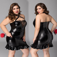 Plus Size Porno Women PU Dress Sexy Halter Underwear Lingerie Sexy Hot Erotic Black Apparel Erotic Lingerie Porno Costumes