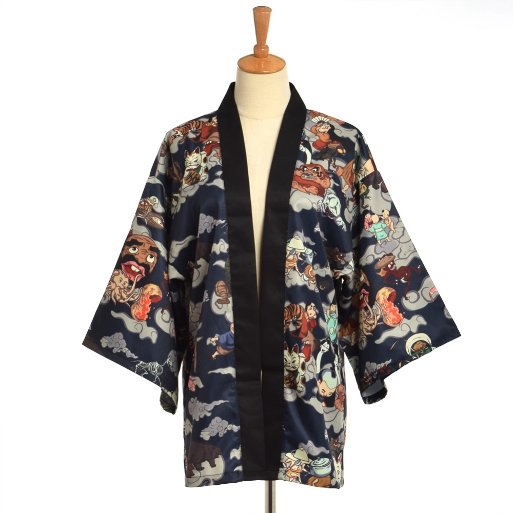 Japanese Kimono Traditional Yukata Men Cardigan Mujer Women Short Outwear Coat Hyakki Yakou Clarkes World Costumes