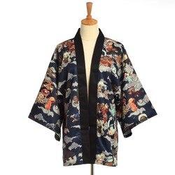 Quimono japonês Tradicional Yukata Homens Cardigan Mujer Mulheres Casaco Curto Outwear Hyakki Yakou Clarkes Mundo Figurinos