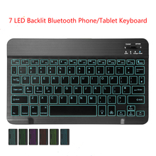 Phone Tablet Keyboard 7 LED Backlit Bluetooth Wireless Portable Slim Rechargeable for Apple iPad iOS Samsung Android Windows animuss led illuminated backlit wireless bluetooth 3 0 keyboard support ios android windows
