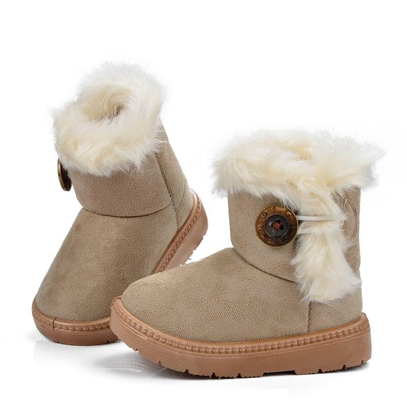 Mudipanda Girls  Boys Plush Warm Buckle Strap Mid-Calf Kids Boots Leather With Fur Platform  Snow Boots Winter Children Shoes