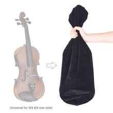 High Quality Satin Fabric Bag Blanket for 3/4 4/4 Full Size Violin Fiddle Deep Blue(China)