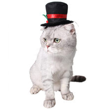 Funny Christmas Black Gentleman Top Hat Pet Cat Dog Hat Small Clothing Accessories Out Door Head Wear K5(China)