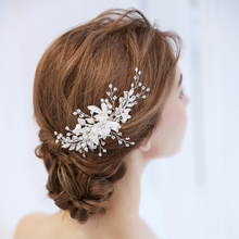 SLBRIDAL Silver Crystal Rhinestone Pearls Flower Wedding Hair Comb Bridal Headpiece Hair Accessories Women Bridesmaids Jewelry crystal rhinestone flower wedding party bridal hair comb hairpin clip jewelry silver new formal headwear