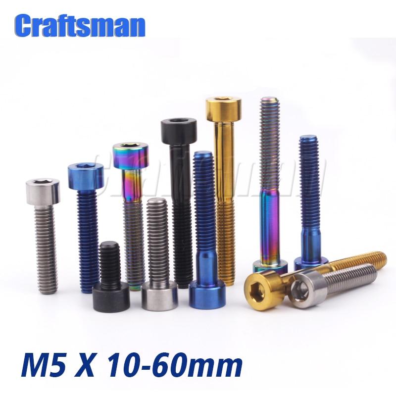 Craftsman Titanium Bolt M5 X 10 12 16 18 20 25 30 35 40 45 50 60mm Allen Key Stigma Head Ti Bolt Screw For Bicycle Stem Seatpost