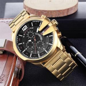 Image 2 - Skone montre de luxe pour hommes, célèbre Design, montre bracelet à Quartz, marque daffaires, chronographe, étanche, doré