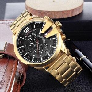 Image 2 - Skone relojes de lujo para hombre, de cuarzo, de negocios marca, resistente al agua, con cronógrafo, dorado
