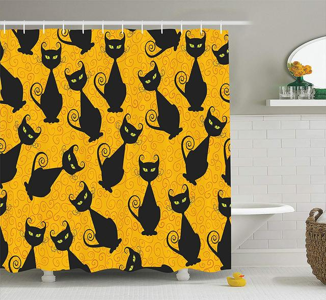 Vintage Decor Shower Curtain Black Cat Pattern For Halloween On Orange Background Celebration Gift Graphic Patterns Bathroom