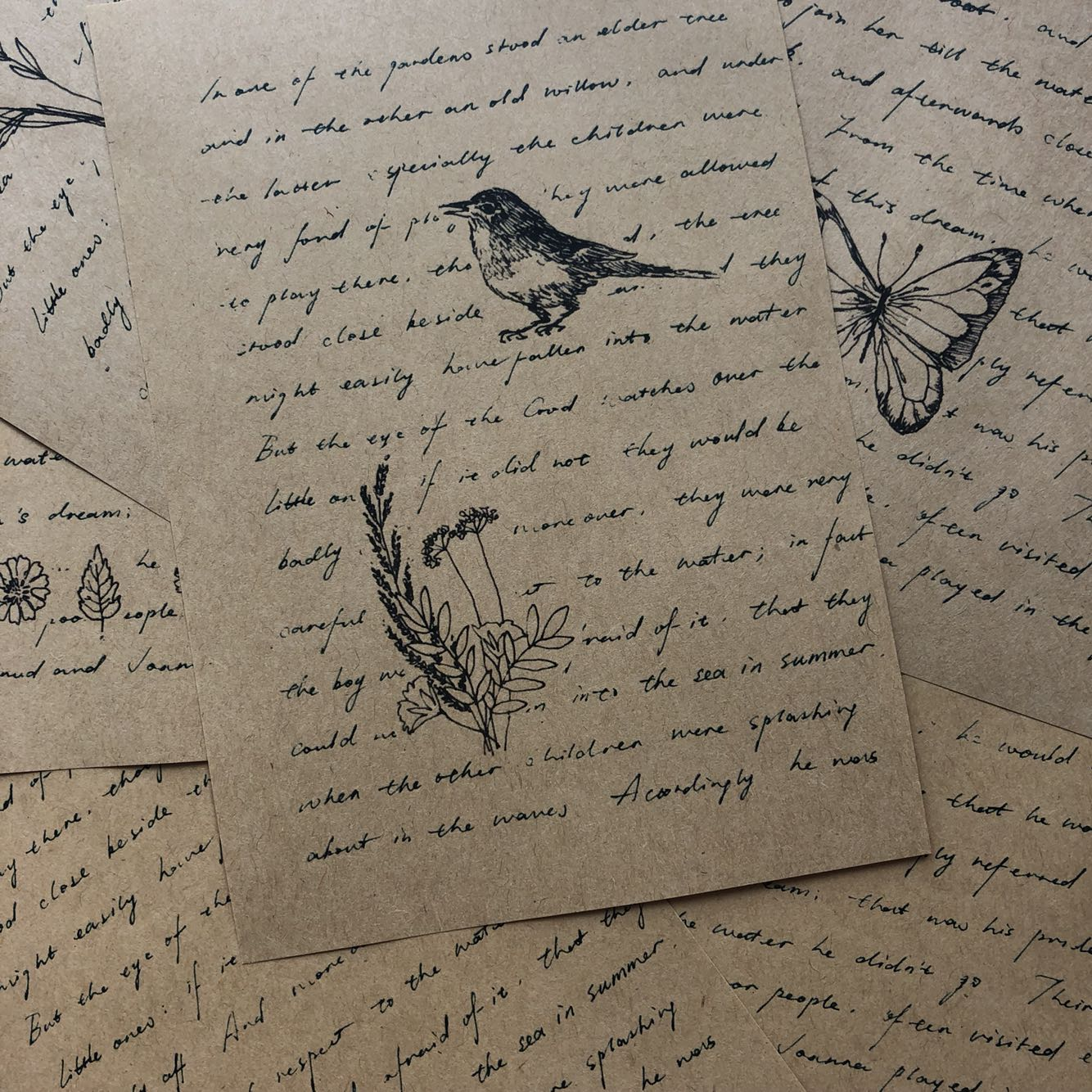 6 Pcs\set Retro English Kraft Paper Vintage Plant Junk Material Paper Set For Scrapbooking Happy Planner/Card Making/Journaling