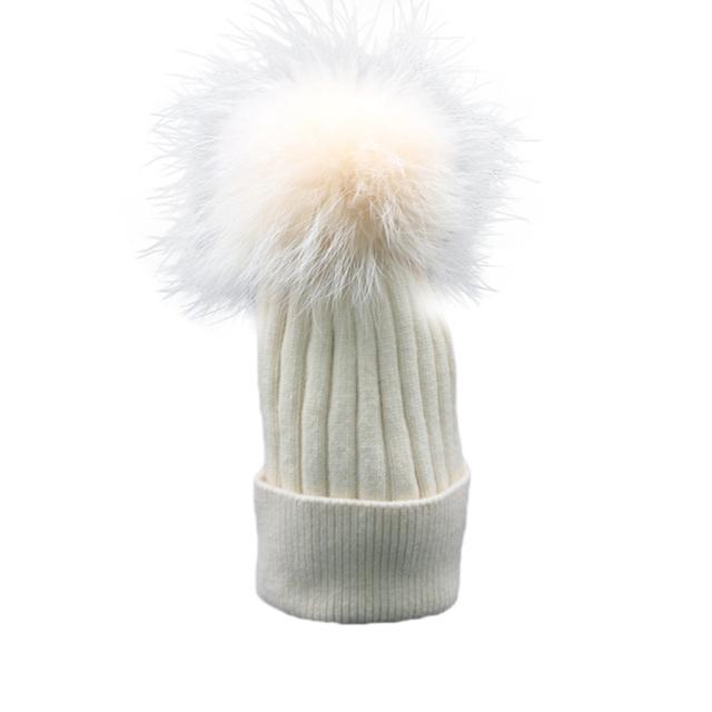 Recién Diseño Mujeres Soft Warm Winter Skullies Gorros de Punto Pelota Sombrero De Piel de Imitación de Lana 161006