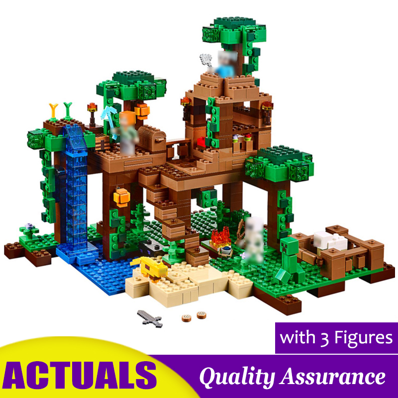 The Jungle Tree House Compatible 21125 Minecrafted My World Building Blocks Animal Model Kids Education Toy
