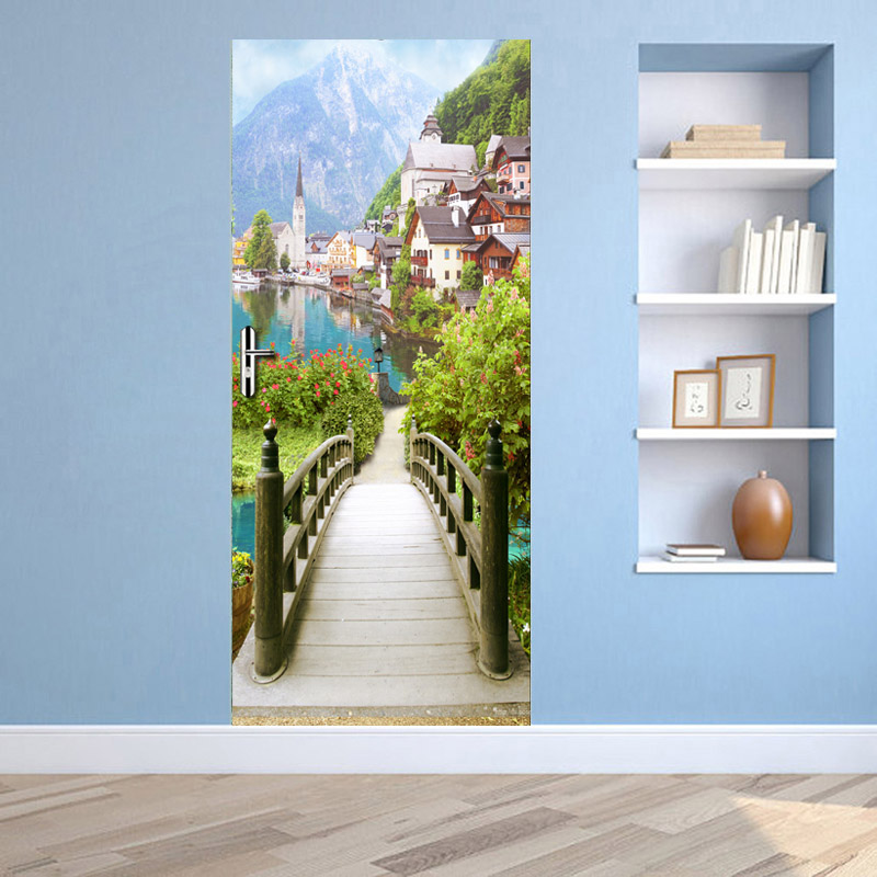 European Wooden Bridge Ancient Town Scenery Door Stickers 3D Wallpaper Living Room Bedroom PVC Waterproof Door Stickers 3D Mural Herbal Products cb5feb1b7314637725a2e7: Multi