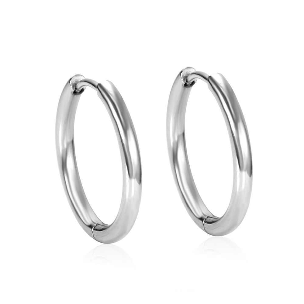 857f1f063 ... LUXUSTEEL Silver Hoop Earrings Stainless Steel Inside Diameter Size  8/10/12/14 ...