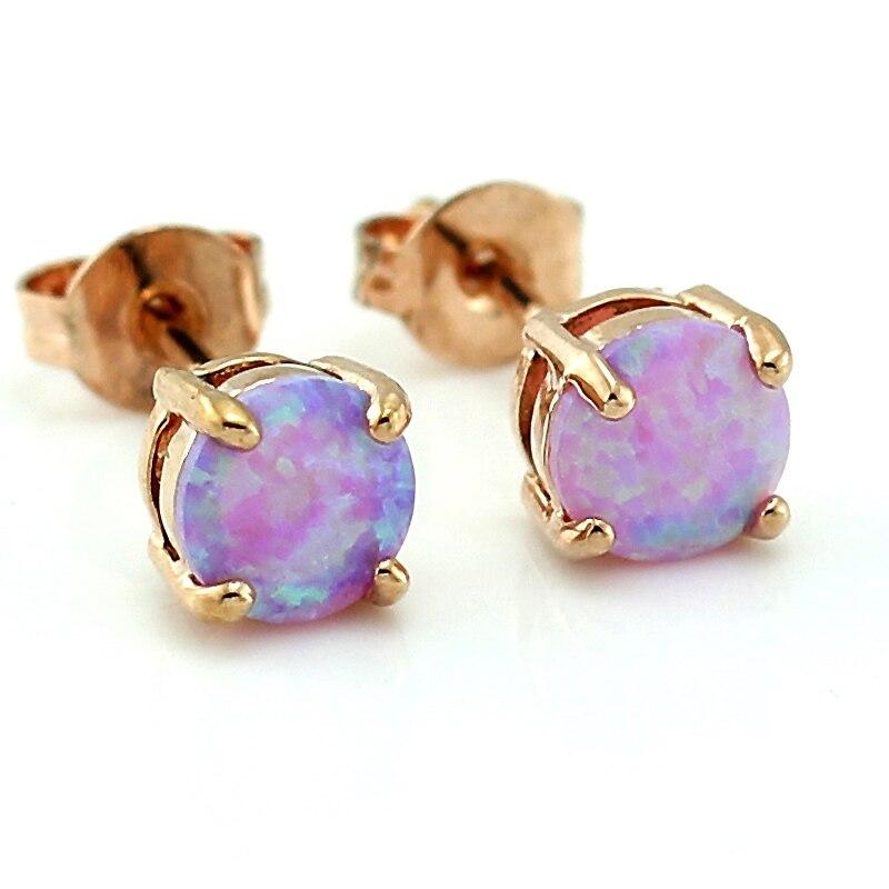 Round Cut Synthetic Pink Fire Opal Rose Gold Color Stud Women Earrings OE209