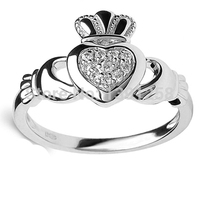 JH Solid Genuine 14ct 14k white gold Claddagh Diamond Ring Wedding ring Fine jewelry Free engraving Love Friendship Peace