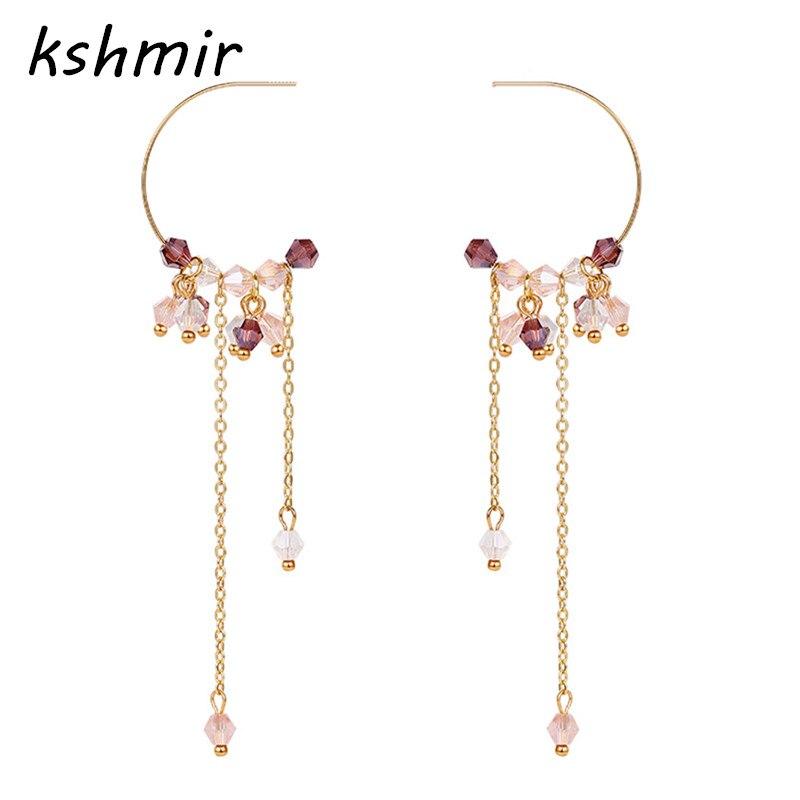 2018 Neue Koreanische Zubehör Kristall Perlen Handgemachte Lange Tropfen Ohrringe Für Frauen Lange Pendients Brincos Mädchen Mode Hochzeit