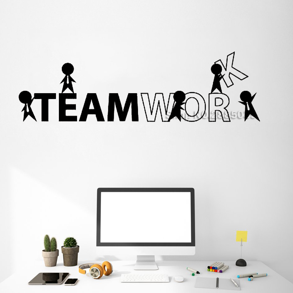 Creativity Teamwork Cartoon People Wall Sticker Office Decor Stickers Commerce Room Wall Decal Interior Art Wallpapers Hot LC518