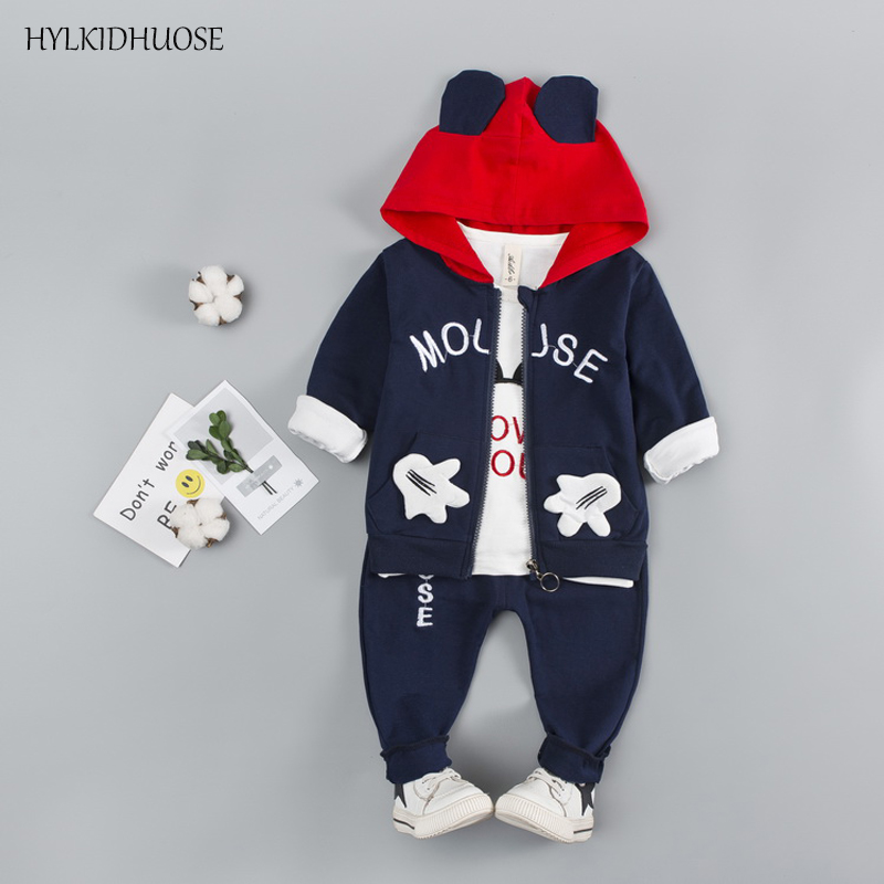 HYLKIDHUOSE 2018 Spring Infant Clothing Sets Baby Girls Boys Suits Classic Cartoon Coats T Shirt Pants Children Kids Suits