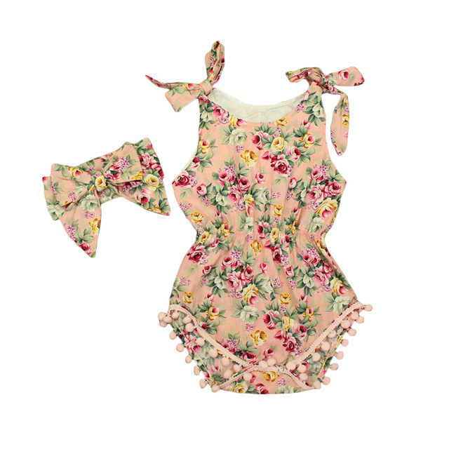 648c7b70993 new boutique vintage floral baby romper matched headband