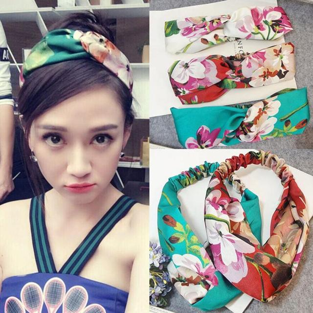 833f1f73640 Women Geranium Flower Headband Blooms Print Silk Satin Makeup Cosmetic  Shower Elastic Headband