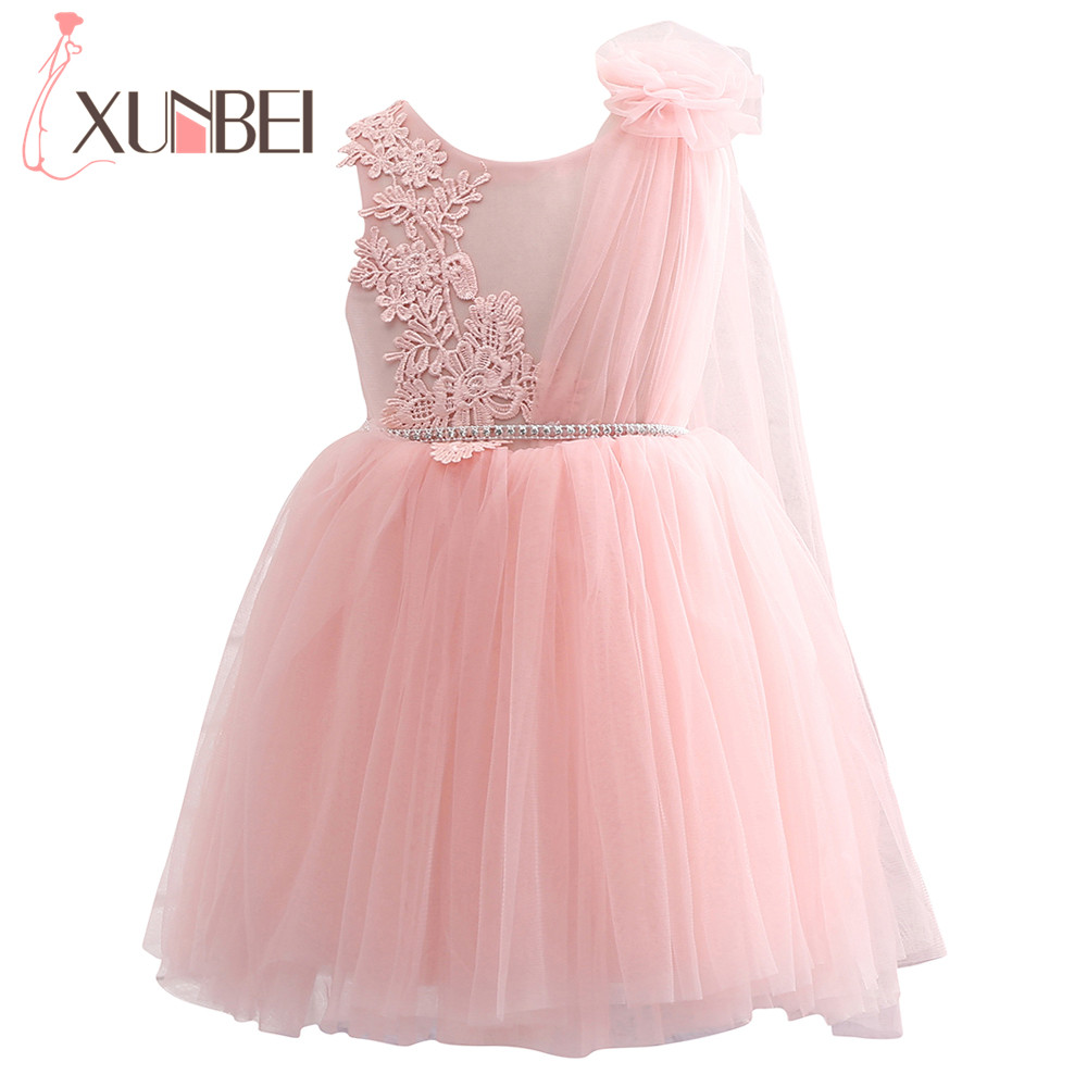 Real Photo Pink   Flower     Girl     Dresses   Soft Tulle Lace Pageant   Dresses   For   Girls   Knee Length Ball Gown First Communion   Dresses
