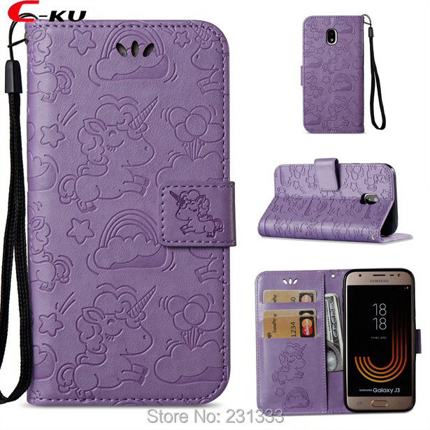 C-ku Unicorn Strap Wallet Leather Case Pouch For Samsung Galaxy J310 J510 J710 S7 EDGE S8 PLUS NOTE8 TPU Stand ID Card Skin 1PCS