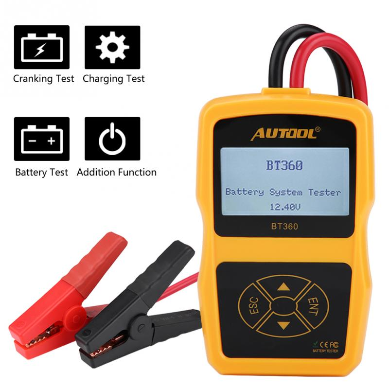 Batería de coche de Automoción de carga de la batería comprobador de sistema analizador Digital celular herramienta de prueba de Multi-idioma de carga de BT360