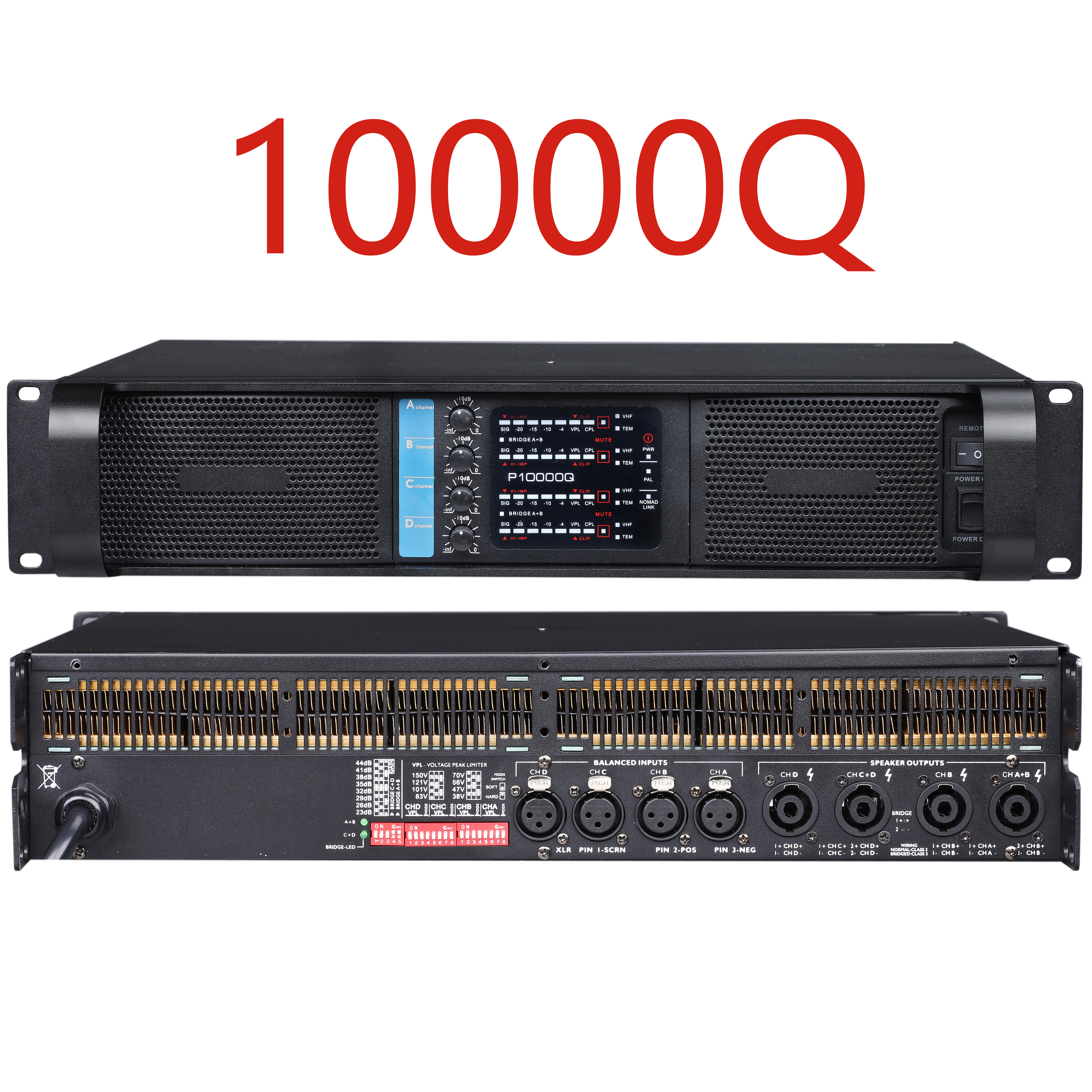 Begagear 10000Q New Line Array Amplifier 2500W 4 Channel Amplifier Professional Sound System DJ Power Audio