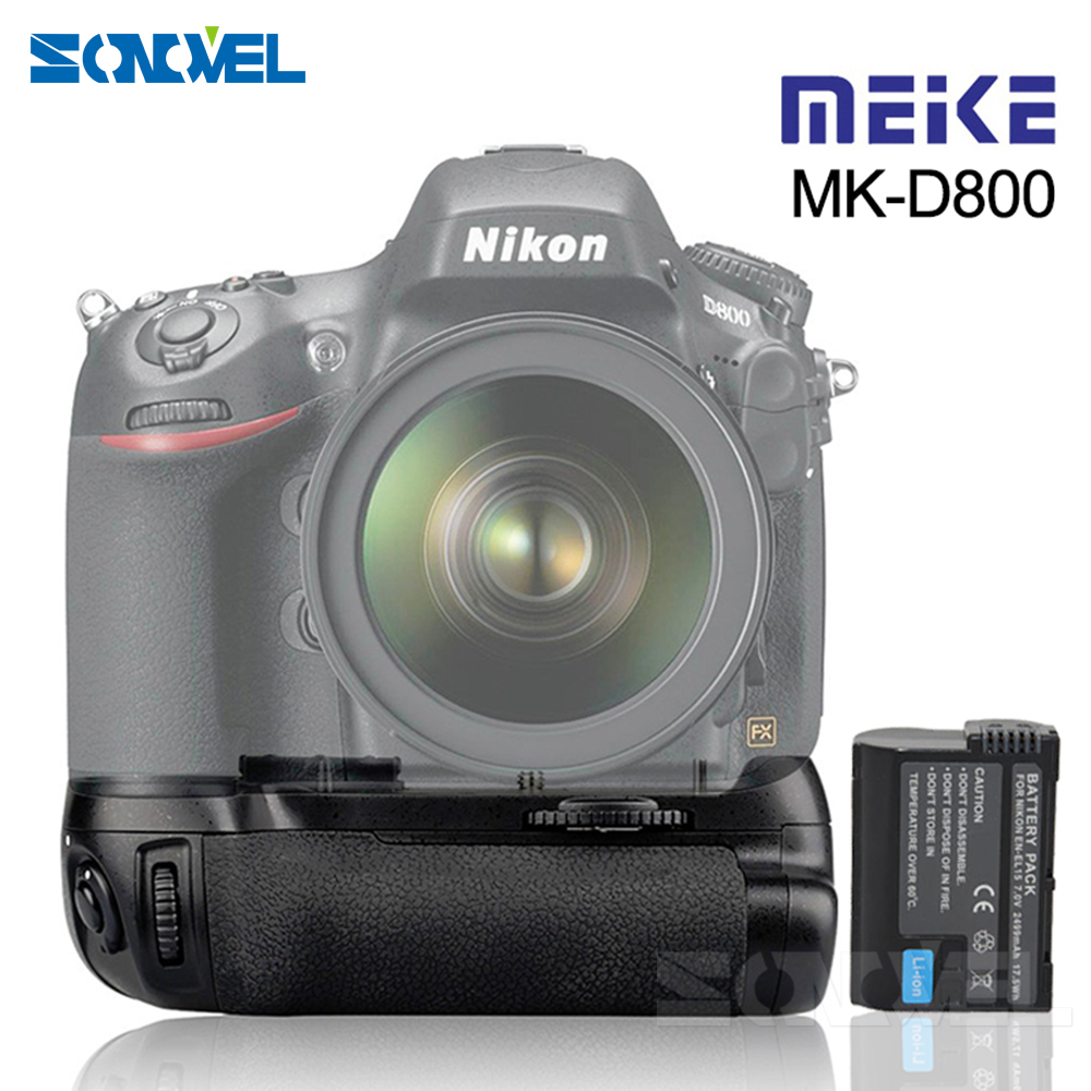 Meike MKD800 MK D800 Battery Grip for Nikon D800 D810 D800E as MB D12 +1* EN EL15 Battery-in Battery Grips from Consumer Electronics    1