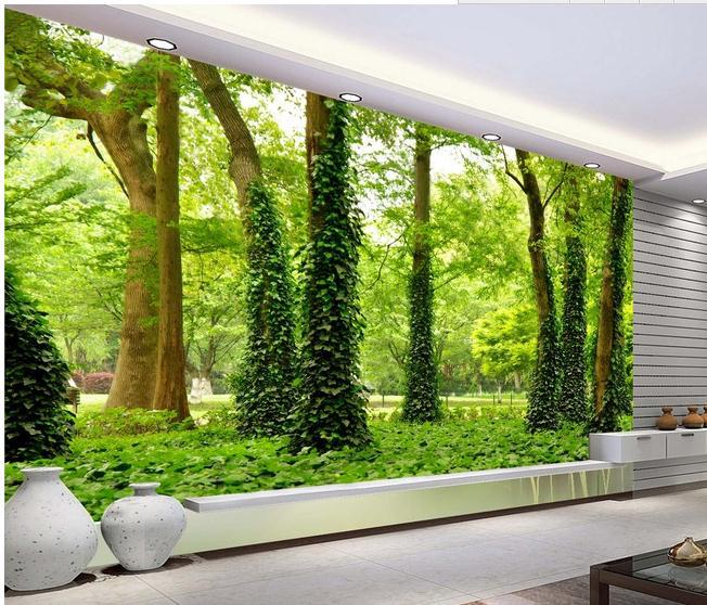 New large wallpaper custom wallpaper hd forest landscape for Custom wall mural decals