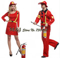 Free shipping!!Halloween Cosplay costume Paragraphs male female firefighters Adult firefighters fire suit dress clothes