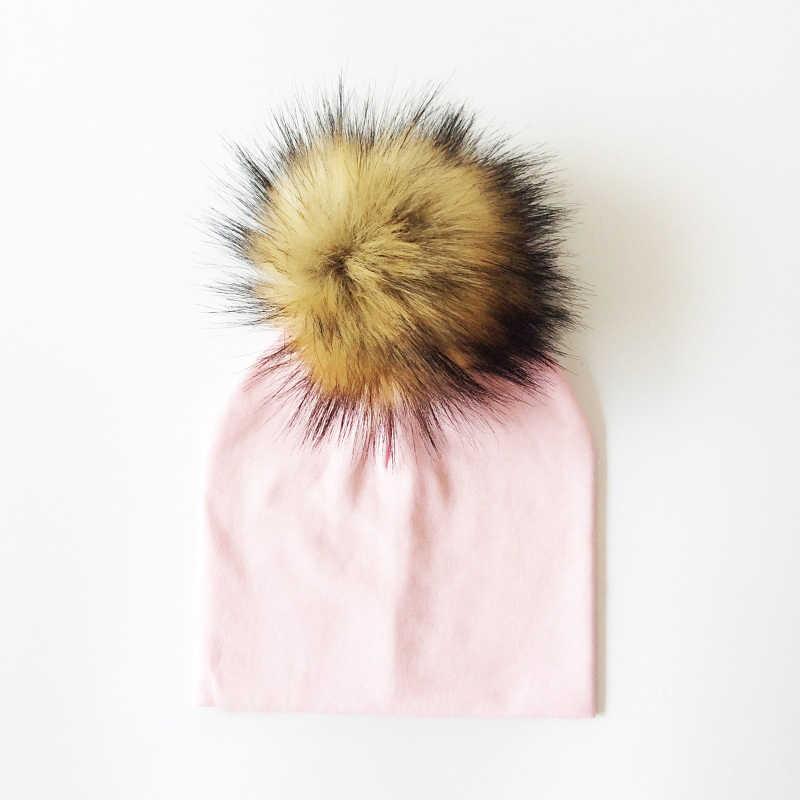 หมวกเด็ก Faux ขนสัตว์หมวกเด็กผ้าฝ้ายสาวหมวกฤดูหนาวหมวกเด็กหมวก Bonnet หมวกเด็ก 0 8 ปี