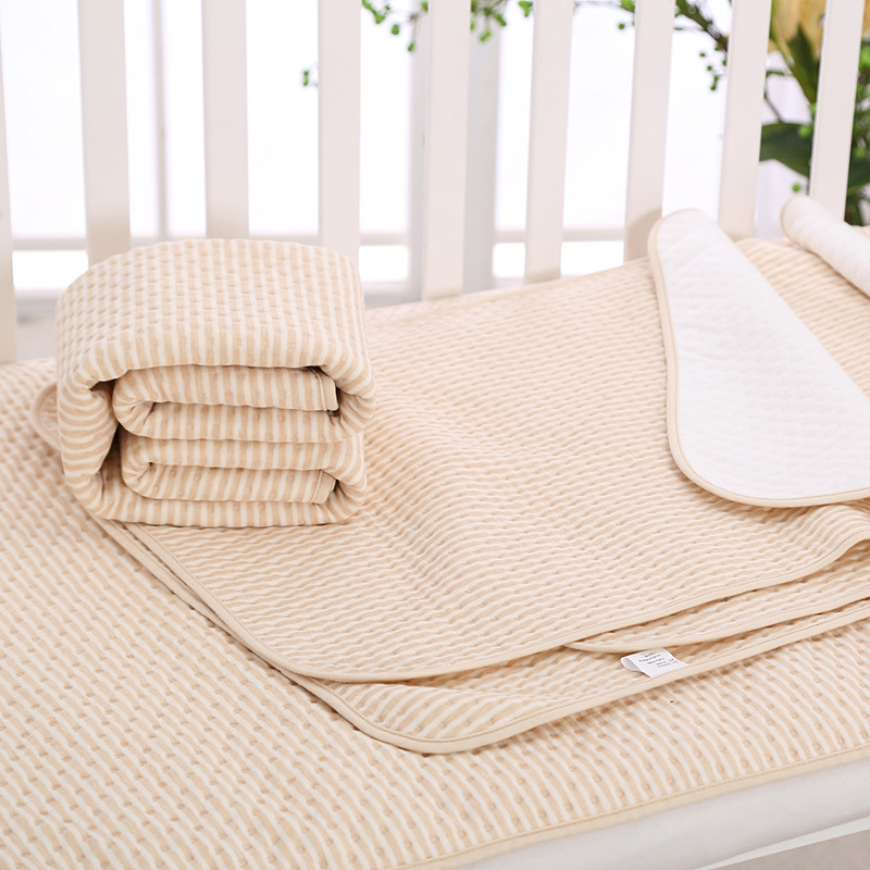 Stripe Organic Cotton Waterproof Layer Baby Changing Urine Pad Bed Sheets