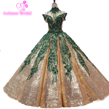 где купить Emerald Green Lace Necklace High Neck And Gold Sequins Party Girl Evening Prom Dress Puffy Ball Gown Waves Arch Skirt Prom Gown по лучшей цене