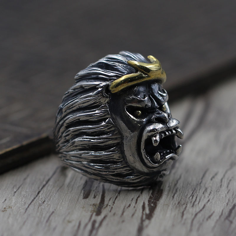 925 Sterling Silver Ring personality carved old Thai silver jewelry to create Sun Wukong domineering opening ring