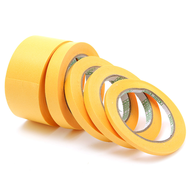 6mm/10mm/12mm/18mm/50mm Yellow Tape Adhesive Insulation Mylar Tape Masking Paint Spray Paper Tape 50M